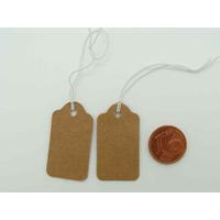Etiquettes carton Marron 33x18mm attache élastique par 50 pcs