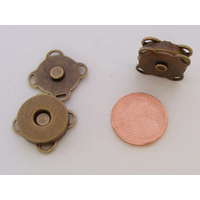 Fermoir aimanté bronze carré 15mm plat à coudre par 2 pcs