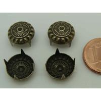 Pieds clous 4 griffes 11mm métal couleur Bronze par 50 pcs