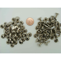Rivets double tête 9mm métal nickelé par 50 pcs