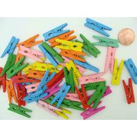 Mini Pinces à linges 25mm bois mix couleurs marque-place par 50 pcs