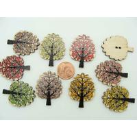 Boutons 32mm ARBRES bois mix couleurs par 10 pcs
