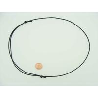 Collier monté Noir cordon nylon ciré 1,5mm noeuds coulissant par 5 pcs