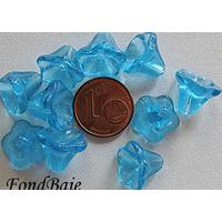 Perles Cones fleurs BLEU 12mm verre par 10 pcs