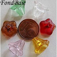 Perles Cones fleurs MIX 12mm verre par 10 pcs