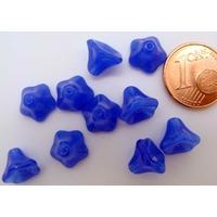 Perles Cones fleurs BLEU FONCE 8mm par 20 pcs