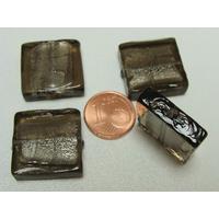 Perles carré 20mm Gris verre façon Murano par 4 pcs