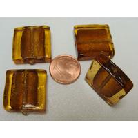 Perles carré 20mm Marron Doré verre façon Murano par 4 pcs