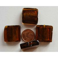 Perles carré 20mm Marron verre façon Murano par 4 pcs