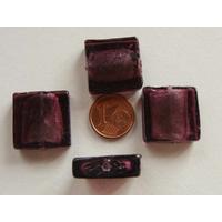 Perles carré 20mm Violet verre façon Murano par 4 pcs