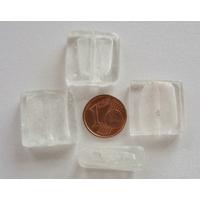 Perles carré 20mm Transparent verre façon Murano par 4 pcs
