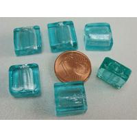 Perles carré 12mm Bleu Vert verre façon Murano par 6 pcs