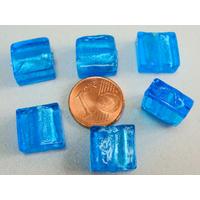 Perles carré 12mm Bleu Vif verre façon Murano par 6 pcs