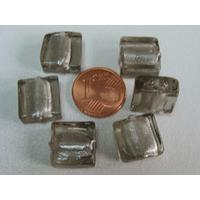 Perles carré 12mm Gris verre façon Murano par 6 pcs