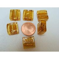 Perles carré 12mm Marron Doré verre façon Murano par 6 pcs