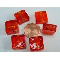 Perles carré 12mm Rouge Orangé verre façon Murano par 6 pcs