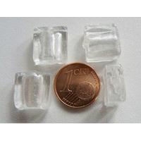 Perles carré 12mm Transparent verre façon Murano par 6 pcs