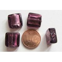 Perles carré 12mm Violet verre façon Murano par 6 pcs