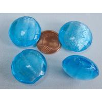 Perles galets 20mm Bleu verre façon Murano par 4 pcs