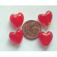 Perles Coeurs 12mm Rouge verre façon Murano par 10 pcs