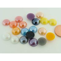Cabochons verre peint aspect nacre perle ronds 10mm MIX couleurs par 20 pcs