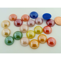 Cabochons verre peint aspect nacre perle ronds 14mm MIX couleurs par 20 pcs