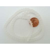 Fil Perles Blanc verre simple givre  RONDES 4mm par 100 pcs