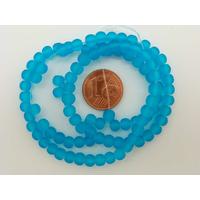 Fil Perles Bleu verre simple givre RONDES 4mm par 100 pcs