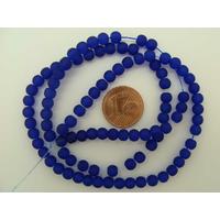Fil Perles Bleu Foncé verre simple givre RONDES 4mm par 100 pcs