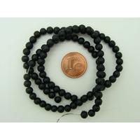 Fil Perles Noir verre simple givre RONDES 4mm par 100 pcs