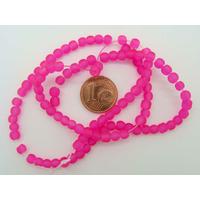 Fil Perles Rose Foncé verre simple givre RONDES 4mm par 100 pcs