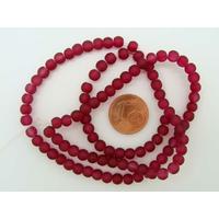 Fil Perles Rouge Grenat verre simple givre RONDES 4mm par 100 pcs