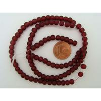 Fil Perles Rouge Sombre verre simple givre RONDES 4mm par 100 pcs