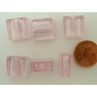 Perles carré 12mm Rose verre façon Murano par 6 pcs