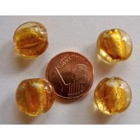 Perles galets 12mm Marron Doré verre façon Murano par 6 pcs