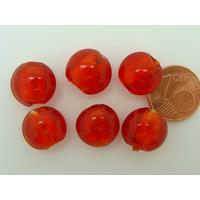 Perles galets 12mm Rouge Orangé verre façon Murano par 6 pcs