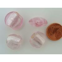 Perles galets 15mm Rose verre façon Murano par 6 pcs