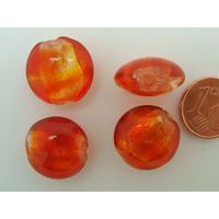 Perles galets 15mm Rouge Orangé verre façon Murano par 6 pcs