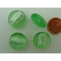 Perles galets 15mm Vert verre façon Murano par 6 pcs