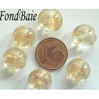 Perles verre GALET 12mm Touches dorées transparent par 6 pcs