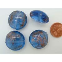 Perles verre GALET 20mm Touches dorées BLEU FONCE par 4 pcs