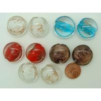 Perles verre GALET 20mm Touches dorées mix couleurs par 10 pcs