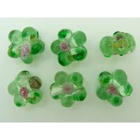 Perles FLEUR verre LAMPWORK 15mm VERT par 6 pcs