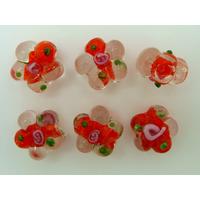 Perles FLEUR verre LAMPWORK 15mm ROUGE par 6 pcs