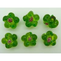 Perles FLEUR verre LAMPWORK 15mm VERT OLIVE par 6 pcs