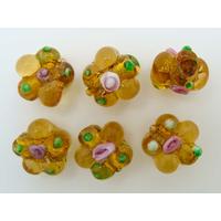 Perles FLEUR verre LAMPWORK 15mm MARRON MIEL par 6 pcs