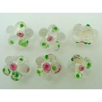 Perles FLEUR verre LAMPWORK 15mm TRANSPARENT par 6 pcs