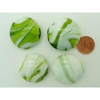 Perles galets 28mm verre LAMPWORK Volutes Blanc et Vert par 1 pcs