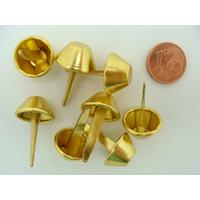 Pieds Cônes plats 15x23mm métal Dore type attaches parisiennes par 8 pcs