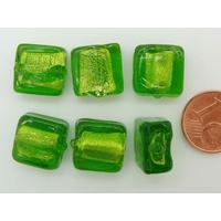 Perles carré 12mm Vert Olive verre façon Murano par 6 pcs